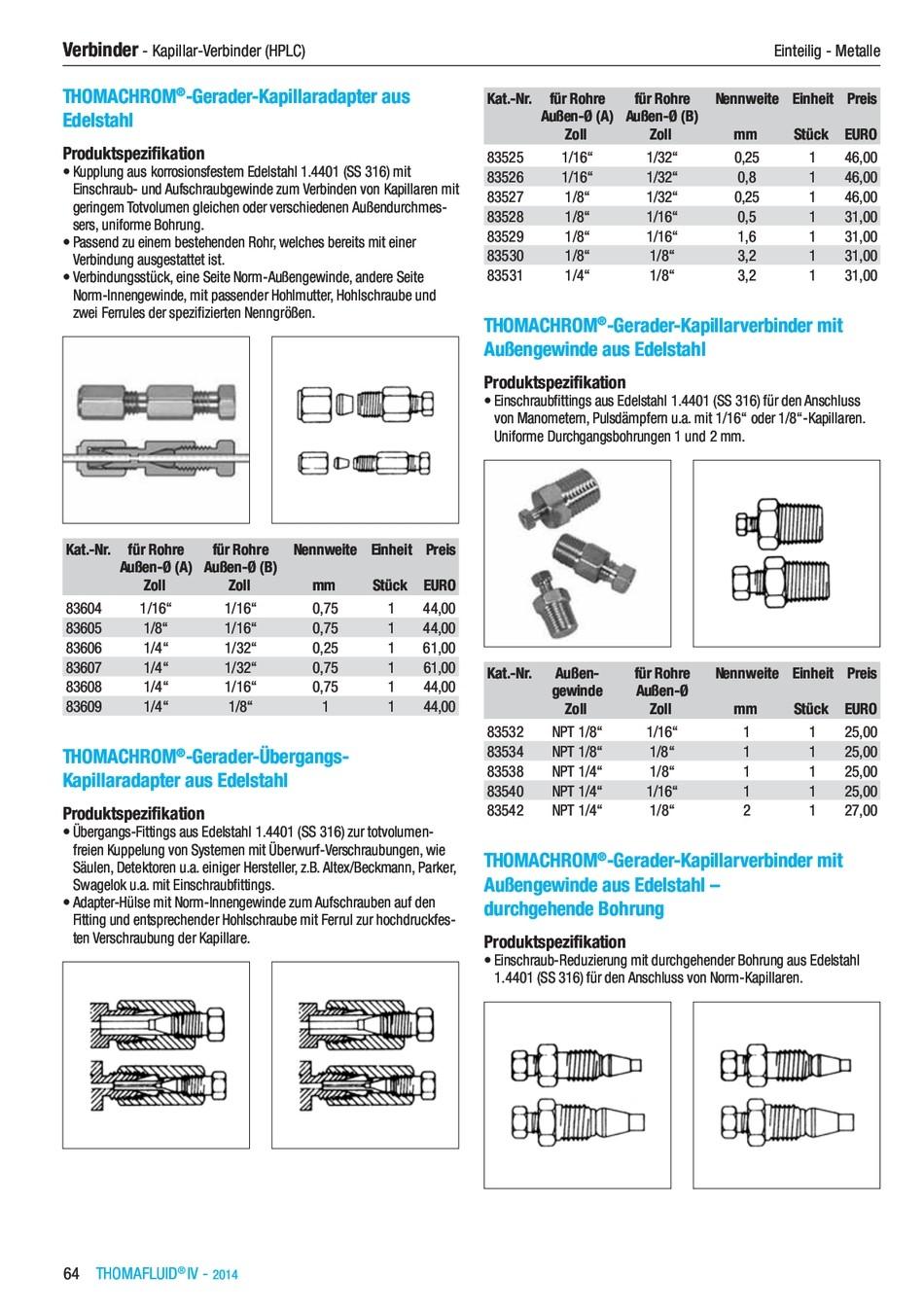 Verbinder Edelstahl Kapillaradapter