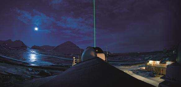 Laserblitz im Polarnachthimmel zur Aerosol-Messung