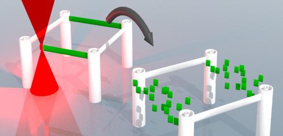 Lasergeschriebene dreidimensionale Mikrostrukturen lassen sich nun schreiben, auflösen und neu schreiben. (Bild: KIT)