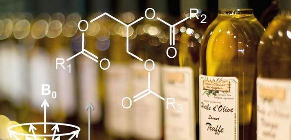 Ölflaschen und NMR-Spektrum