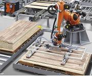 Handhabungslösung zum Aufnehmen mehrerer Holzbretter