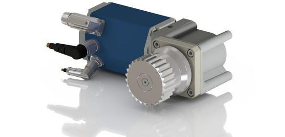 Gleichstrommotoren sowie Kegelrad- und Nabengetrieben aufgebaute Antriebssysteme