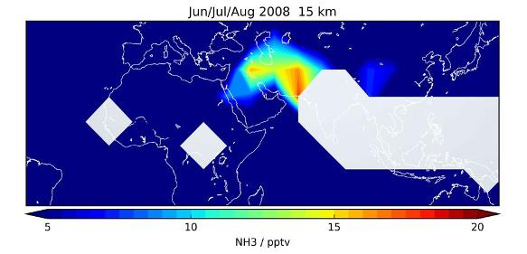 Verteilung des atmosphärischen Ammoniakgehalts