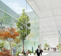 """Der neue """"interne Marktplatz"""" des Büro- und Entwicklungsgebäudes in der Schurwaldstraße"""