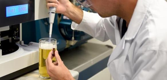 FAU-Wissenschaftler Thomas Sommer entnimmt eine Bierprobe