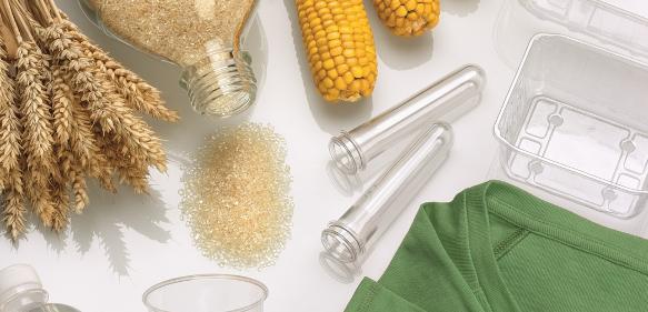 Polyactid (PLA) ist ein zu 100 % biobasierter und kompostierbarer Kunststoff, der sich unter anderem für die Verarbeitung zu Verpackungsmaterialien, Folien und technischen Kunststoffen eignet.