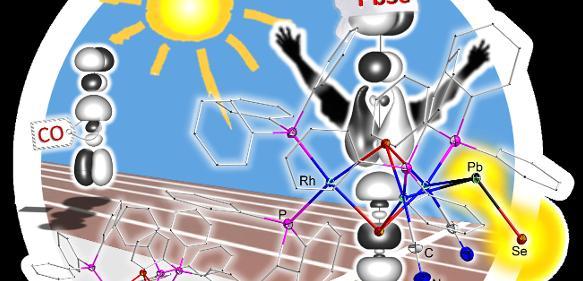 """Bleimonoselenid macht das Rennen: Das erstmals isolierte Molekül (rechts) ähnelt dem Kohlenmonoxid (links), wie die Fachzeitschrift """"Angewandte Chemie International Edition"""" auf dem hinteren Innentitel ihrer aktuellen Ausgabe zeigt. (Abbildung: Autoren / AG Dehnen)"""