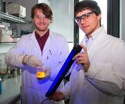 Fabian Zechmeister (links) und Maximilian Raab demonstrieren die Fluoreszenz einer Perylenbisimidlösung. (Copyright: TU Wien)