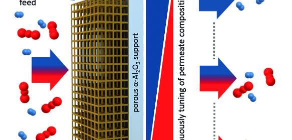 Eine MOF-Membran mit eingebauten Fotoschaltern trennt Moleküle. Über die Lichteinstrahlung lässt sich der Trennfaktor stufenlos einstellen. (Abbildung: Alexander Knebel / Universität Hannover und Lars Heinke / KIT)