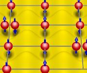 Elektronen vor dem Hintergrund des Atomgitters – die Bestandteile eines Festkörpers. Die gegenseitige Abstoßung der Elektronen sorgt dafür, dass sie engen Kontakt vermeiden. Dies behindert den Elektronenfluss, und das System kann zu einem Isolator werden.  (Urheber: Dr. Ulrich Tutsch)