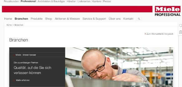 Miele Professional Website