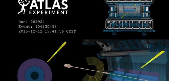 Schematische Darstellung eines aufgezeichneten Kollisionsereignisses mit zwei Lichtteilchen am ATLAS-Experiment vom 12. Dezember 2015. (Foto/©: ATLAS Collaboration)