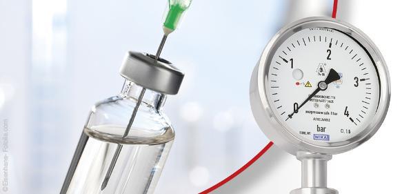 Das Plattenfedermanometer Typ PG43SA-D wurde für höchste Sicherheitsansprüche bei sterilen Anwendungen entwickelt.
