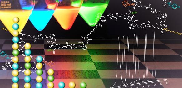 Lichtinduzierte Synthese ermöglicht ein maßgeschneidertes Moleküldesign. Vergleichbar einer bunten Perlenkette platzieren sich Bauteile an die gewünschte Stelle. (Grafik: KIT)