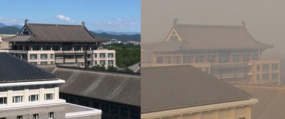 In Peking ist der Wintersmog oft besonders extrem und raubt die Sicht auf die Stadt. Die hohen Feinstaubwerte entstehen durch einen bisher unbeachteten chemischen Mechanismus in Aerosolpartikeln. (Quelle: Min Shao, Peking University)