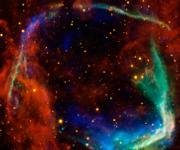 Das internationale Astronomen-Team entdeckte in dem Supernovarüberrest RCW 86 erstmals ein Doppelstern-System aus einem Neutronenstern und einem sonnenähnlichen Stern. (©  NASA/JPL-Caltech/UCLA)