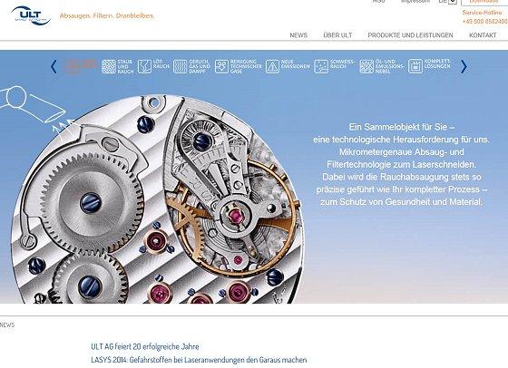 Absaug- und Filtertechnik: Website der ULT AG mit neuem Design und neuer Struktur