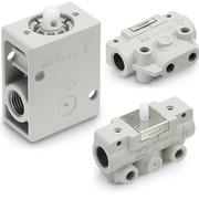 Vier verschiedenen Montageoptionen: Mechanisch betätigte 2/2- und 3/2-Wege-Ventile
