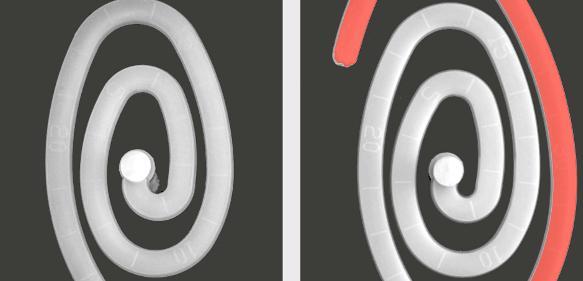 Fließverbesserer erhöht die Fließfähigkeit verstärkter Polyamide, besonders bei hohen Füllgraden (PA6-GF50; links ohne Additiv, rechts mit 3 % TP-P1507)