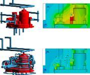 Oben: Konventionelles Kühllayout und die resultierende Temperaturverteilung im Werkzeug. Unten: Konturnahe Kühlung (mit freundlicher Genehmigung durch IPC) und die verbesserte Temperaturverteilung. (Bild: Sigma)