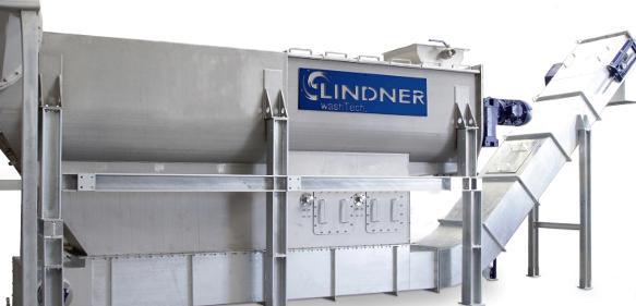 Als Wascheinheit für vorzerkleinerte, stark verunreinigte Post-Consumer-Kunststoffabfälle ist der Rafter in der Recyclinglinie zwischen Nass-Shredder und Loop-Dryer angeordnet. (Bild: Lindner)