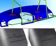 Eine Instrumententafel, ursprünglich mit sechs Heißkanalanbindungen gespritzt, wird über nur vier Anschnitte (M3 bis M6) gefüllt. Bei konventionellem sequentiellen Einspritzen bilden die beiden Fließfronten eine in Form und Lage unkontrollierte Bindenaht (unten links, gelb gestrichelt). Mit der Flexflow-Regelung der Verschlussnadeln verläuft die Bindenaht gradlinig, (unten rechts), und ihre Position lässt sich gezielt verändern. (Bilder: HRS)