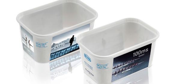 Die im IML-Verfahren etikettierte Margarineverpackung wiegt 10,7 Gramm