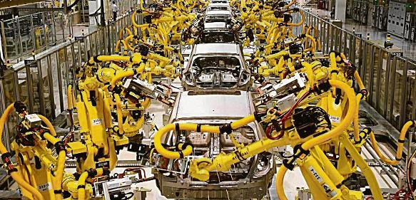 Roboter am Fließband, Quelle: Stock-Fotografie bereitgestellt von Exlar, USA