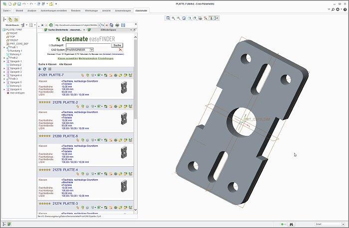 2D/3D-CAD-Integration: Bauteilsuche in PTC Creo 2.0 integriert