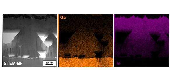 Mikroskopische Aufnahme des aus einem Kristall hergestellten Solarzellenabsorbers
