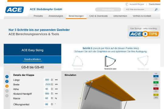 Online-Berechnungsprogramm für Gasfedern