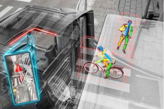 Bau-Lkw: IAA Nutzfahrzeuge 2018: Continental zeigt Rechtsabbiegeassistent von morgen