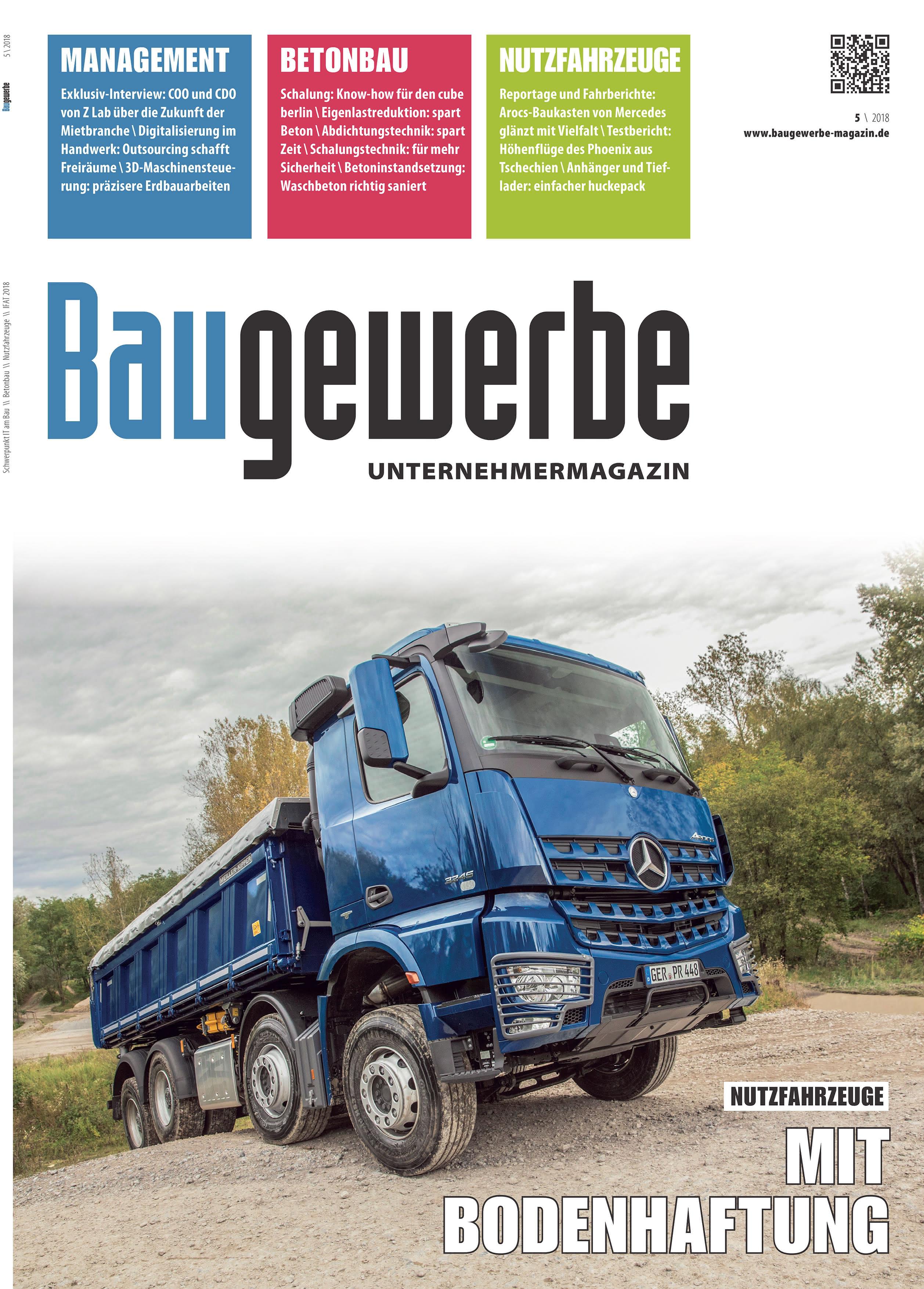 Baugewerbe 5/2018 Titelseite
