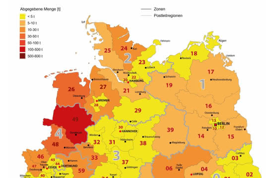 Landkarte Deutschland mit regionaler Zuordnung der Antibiotika-Abgabemengen 2017