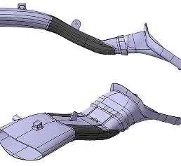 Erste Konstruktion des Lufteinlasses als 3D-Druckbauteil