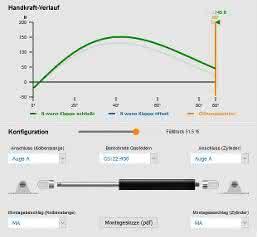 Online-Berechnungsprogramms für Gasfedern - Ausschnitt