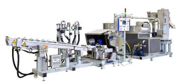 Stranggranulieranlage für die Produktion von rPET (Bild: IPS)