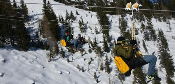 Seil-Gleitfluganlage im österreichischen Abenteuerpark Gröbming