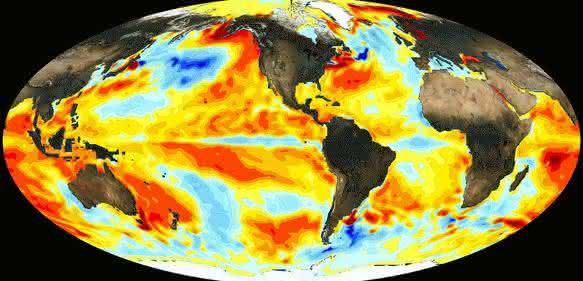 El Niño-Effekt auf die weltweite Wassertemperatur: Im Dezember 2015 waren die Temperaturen im östlichen und zentralen Pazifik deutlich erhöht. (Bild: NASA)