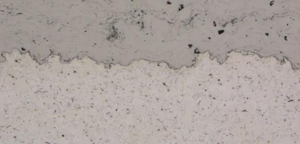Querschnitt der thermisch gespritzten Sprayfit-Buchse
