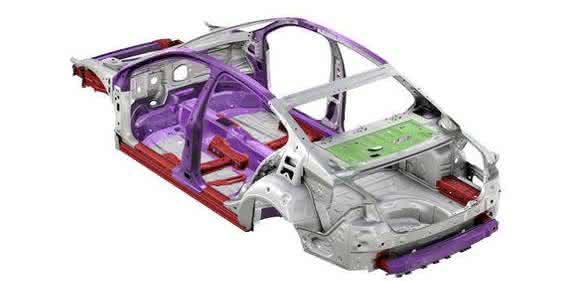 Karosseriestruktur der 8. Passat-Generation: Aluminium (grün) ergänzt erstmals das Konstrukt aus Stahl (grau), höchstfestem (rot) sowie warmumgeformten Stahl (lila). (Bild: Volkswagen)
