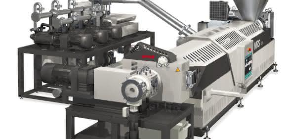 Gneuß-Processing-Unit (GPU) mit MRS-Extruder, Rotary-Filtrationssystem RSF Genius und Online-Viskosimeter VIS. (Bild: Gneuß)