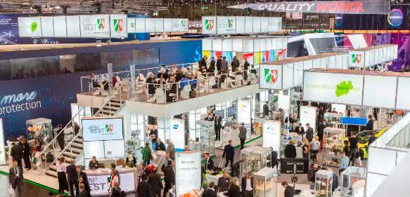 Kunststoffland NRW wird mit 23 Ausstellern wieder einen der größten Stände auf der Fakuma haben (hier ein Bild von der K2016). Zudem werden 44 weitere Mitgliedsunternehmen mit eigenen Ständen auf der Messe vertreten sein.