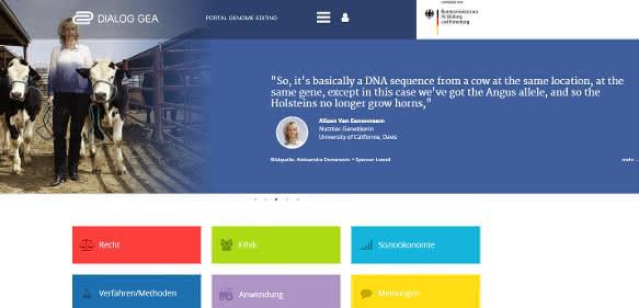 Screenshot Interdisziplinäres Portal zu Genome Editing in der Landwirtschaft ist ab sofort verfügbar
