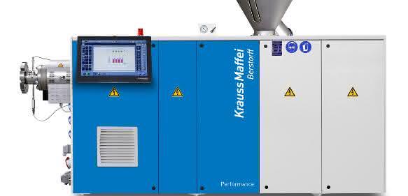 Konischer Doppelschneckenextruder KMD 63 K/R aus der Performance-Serie – zur Chinaplas erstmals in den Markt eingeführt. (Bild: Kraussmaffei Berstorff)
