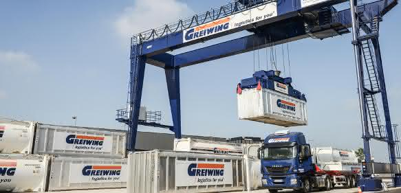 Greiwing Logistiklager Portalkran Kippbühne