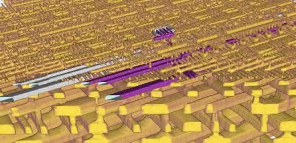 3D-Darstellung der inneren Struktur eines Mikrochips (Prozessor der Firma Intel).