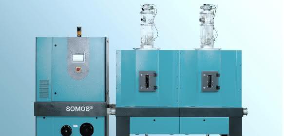 Der stationäre Granulattrockner mit ist mit einem variablen Trockenluftdurchsatz von 140 bis 300 m³/h für die wirtschaftliche Aufbereitung mittlerer Materialdurchsätze ausgelegt. (Bilder: Protec)