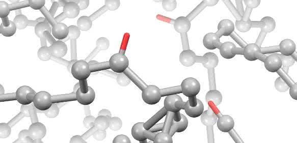 Pyrolytischer magnetischer Kohlenstoff (PMC): Das Modell zeigt die für die magnetischen Eigenschaften verantwortlichen ungepaarten Elektronenspins (rot). (Abbildung: Swati Sharma)