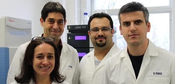 Christopher Gerner zusammen mit seinem Team (von links: Astrid Slany, Christopher Gerner, Besnik Muqaku, Ammar Tahir). (Copyright: Universität Wien)